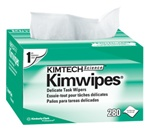 KimTech Science Kimwipes Delicate Task Wipers, 1 Ply, 4.5in.Wx8.5in.L, White, Light-duty, Pop-Up Box
