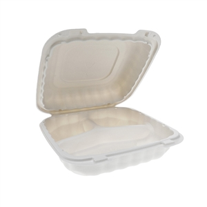 3-Compartment Hinged-Lid Container White - 8 in. x 8 in.