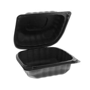 1-Compartment Hoagie Hinged-Lid Container Black - 6 in. x 6 in.