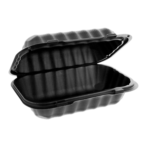 1-Compartment Hoagie Hinged-Lid Container Black