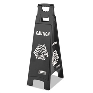 Executive Multi-Lingual 4 Sided Black Caution Sign