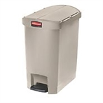 Slim Jim Step-On Resin End Step Waste Basket Beige - 19.6 in.