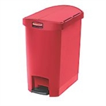 Slim Jim Step-On Resin End Step Red 30 L Waste Basket - 19.6 in.