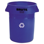 Brute Round Blue Recycling Container - 32 Gal.