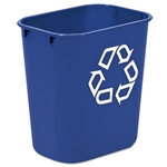 Deskside Blue Wastebasket with Recycle Symbol - 13.63 Qt.