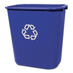 Deskside Blue Wastebasket with Recycle Symbol - 28.13 Qt.