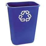 Deskside Large Blue Wastebasket with Recycle Symbol - 41.25 Qt.