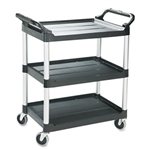 Black 3 Shelf Utility Cart - 33.6 in. x 18.6 in. x 37.8 in.