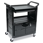 Black 2 Shelf Utility Cart with Locking Doors and Sliding Drawer