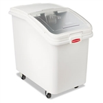 ProSave Slant Front White Mobile Ingredient Bin - 29.8 in.