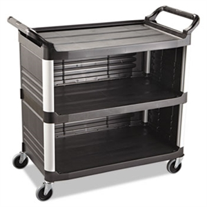Xtra 3 Shelf Black Utility Cart with 3 Enclosed Sides - 300 lb.
