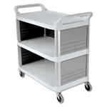 Xtra 3 Shelf Off White Utility Cart with 3 Enclosed Sides - 300 lb.