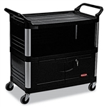 Rubbermaid Xtra 3 Shelf Black Equipment Cart - 300 lb.
