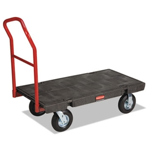 Heavy Duty Pneumatic Wheel Black Platform Truck - 1000 lb.