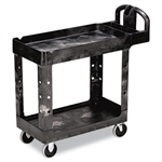 Heavy Duty 2 Shelf Black Small Utility Cart - 500 lb.