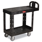 Flat Shelf Black 2 Shelf Utility Cart - 500 lb.