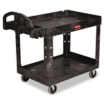 Heavy Duty 2 Shelf Black Utility Cart - 45.2 in. x 25.9 in.