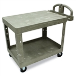 Flat Shelf Beige 2 Shelf Utility Cart - 43.9 in. x 25.9 in.