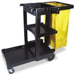 Black Cleaning Cart with Zippered Yellow Vinyl Bag