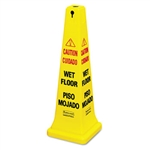 Yellow Safety Cone with Multilingual Caution, Wet Floor - 12.2 in.
