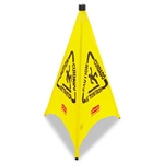 Multilingual 3 Sided Pop-Up Yellow Safety Cone - 30 in. x 21 in.