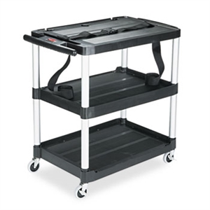 MediaMaster Audio-Visual Black Cart with 3 Shelf - 150 lb.