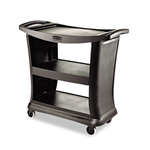 Executive Service 2 Shelf Black Cart - 38.9 in. x 20.3 in.