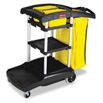 High Capacity Black Cleaning Cart - 49.8 in. x 21.8 in. x 38.4 in.