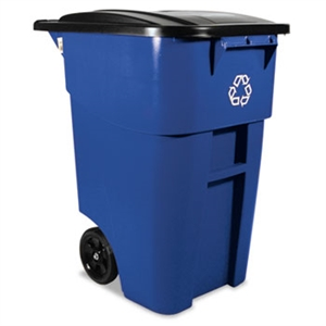 Brute Recycling Rollout Square Blue Container with Lid - 50 Gal.