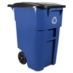Square Brute Rollout Blue Container with Lid - 28.5 in. x 23.4 in. x 36.5 in.