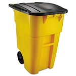 Square Brute Rollout Yellow Container with Lid - 28.5 in. x 23.4 in. x 36.5 in.
