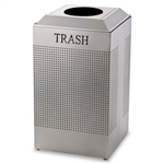 Silhouette Silver Metallic Square Recycling Container - 29 Gal.