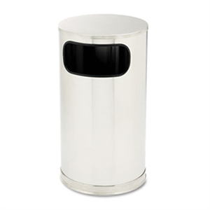 Metallic Side Opening Satin Stainless Steel Round Receptacle