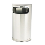 Half Round Satin Stainless Steel Waste Receptacle - 9 Gal.