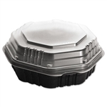 OctaView Hinged Lid Black and Clear Food Container - 31 oz.
