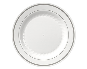Masterpiece White with Printed Silver Line Plate - 9 in.