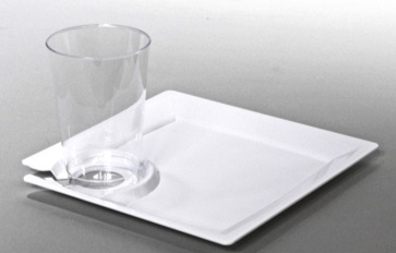 Larger Photo & MSCTL Milan 8.25 inch Plastic Cocktail Party Plate with Cup Holder ...