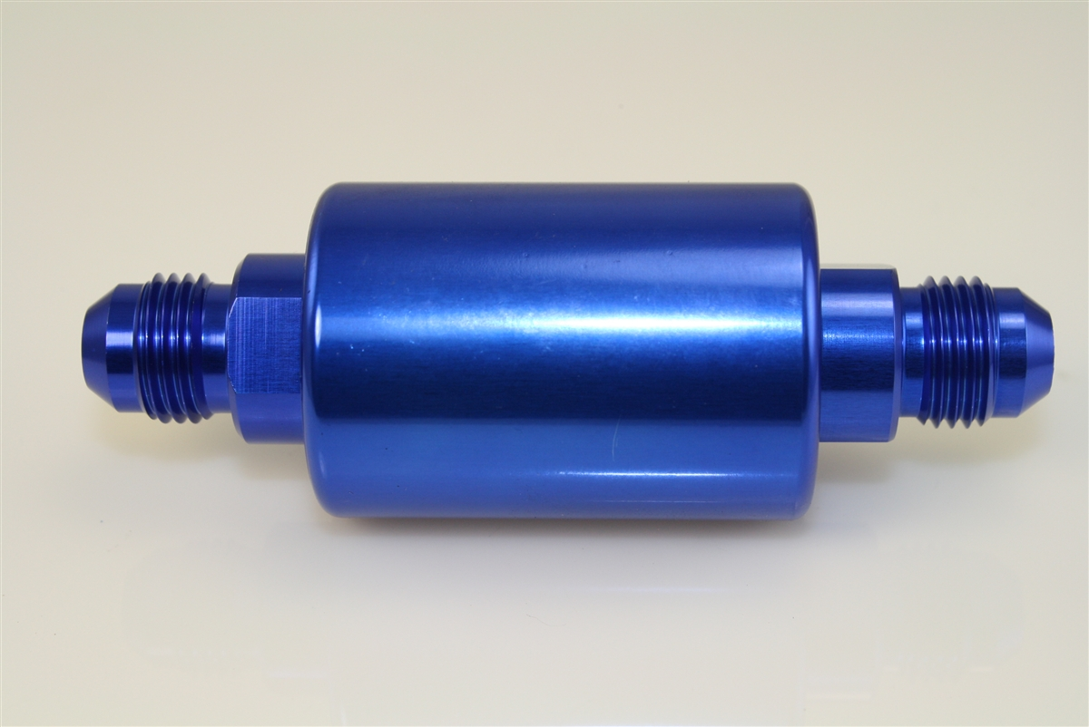-08 inlet -08 outlet AN high flow fuel filter - blue