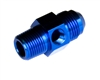 "-08 male to 3/8"" NPT Male with 1/8"" NPT in hex - blue"