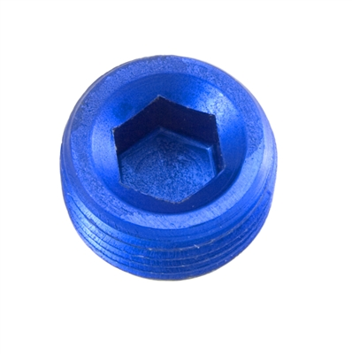 "-04 (1/4"") NPT hex head pipe plug - blue - 2/pkg"