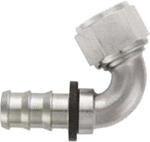 -12 120* Deg Push-On Hose End - Aluminum - Super Nickel Plated