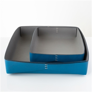 Dario Leather Tray Blue