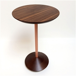 Roberta Schilling contemporary walnut small side table with copper legs for sale in Bridgehamptons and the Hamptons for home decor and interior design