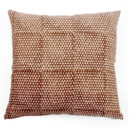 handmade natural dye cinnamon print linen square pillow