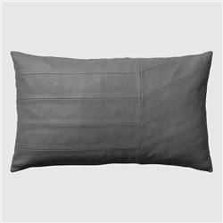 Luxurious solid dark grey Coria leather pillow cushion in rectangular shape