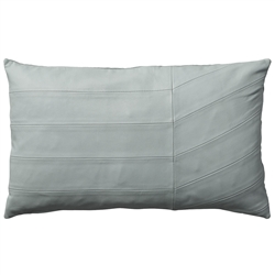 Luxurious pale mint Coria leather pillow cushion in rectangular shape