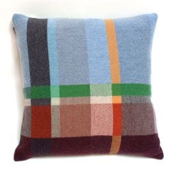 lambswood woven block multi-color pillow with blue