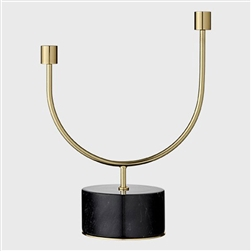 Black marble and gold brass tall candle holder, candelabra