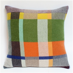 lambswood woven block multi-color pillow