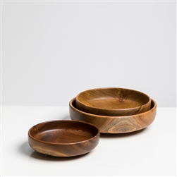 Wood Shallow Serving Bowls